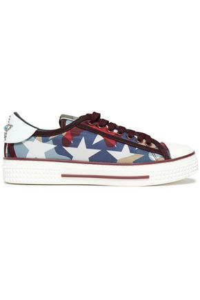VALENTINO GARAVANI Embellished leather-trimmed printed shell sneakers