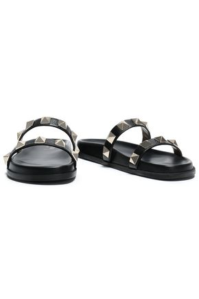 VALENTINO GARAVANI Studded pebbled-leather sandals