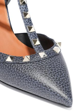 VALENTINO GARAVANI Rockstud textured-leather pumps