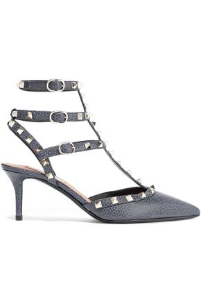 VALENTINO GARAVANI Rockstud textured-leather pumps