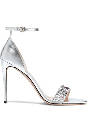 VALENTINO GARAVANI Crystal-embellished suede and metallic leather sandals
