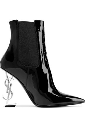 SAINT LAURENT Opyum logo-embellished patent-leather ankle boots