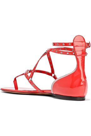 VALENTINO GARAVANI Love Latch eyelet-embellished patent-leather sandals