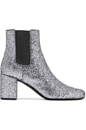 SAINT LAURENT Babies glittered leather ankle boots