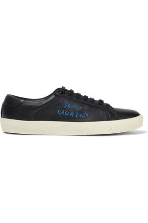 SAINT LAURENT Moon Plus embroidered leather sneakers