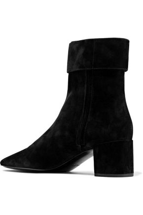 SAINT LAURENT Joplin buckled suede ankle boots