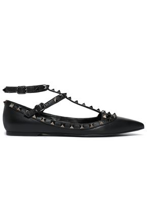 VALENTINO GARAVANI Studded leather point-toe flats