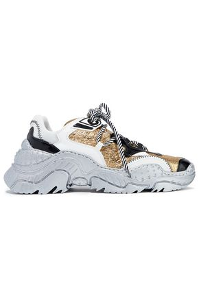 N°21 Billy smooth, patent and metallic cracked-leather sneakers
