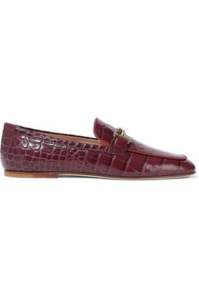 TOD'S Embellished croc-effect patent-leather loafers