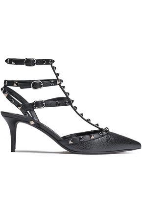 VALENTINO GARAVANI Studded textured-leather pumps