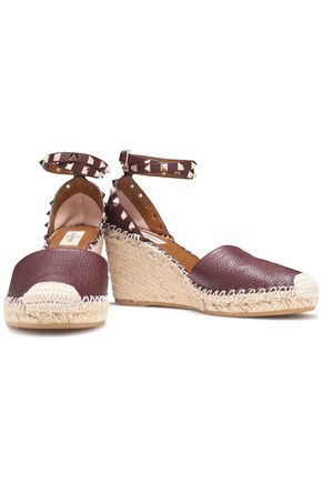 VALENTINO GARAVANI Rockstud textured-leather wedge espadrilles