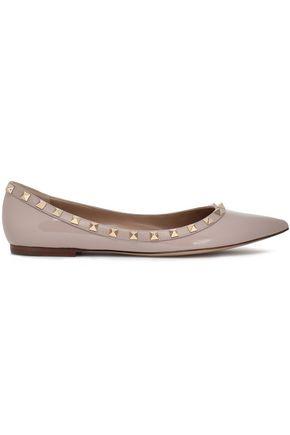 VALENTINO GARAVANI Studded patent-leather point-toe flats