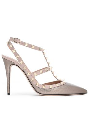 VALENTINO GARAVANI Studded metallic textured-leather pumps