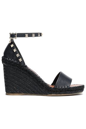VALENTINO GARAVANI Studded textured-leather wedge sandals