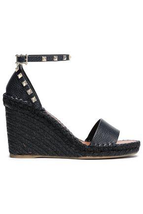VALENTINO GARAVANI Studded textured-leather wedge sandals