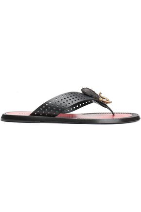 VALENTINO GARAVANI Appliquéd perforated leather slides