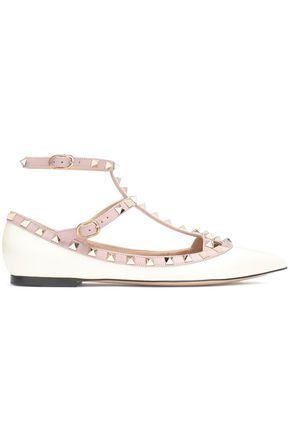 VALENTINO GARAVANI Studded leather point-toe flats