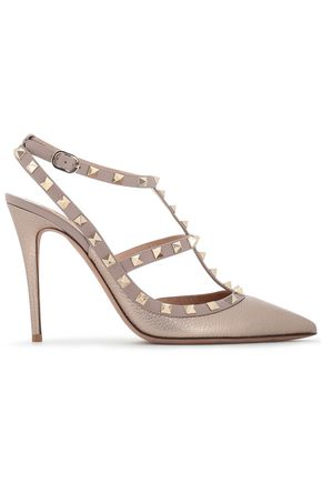 VALENTINO GARAVANI Rockstud metallic-leather pumps