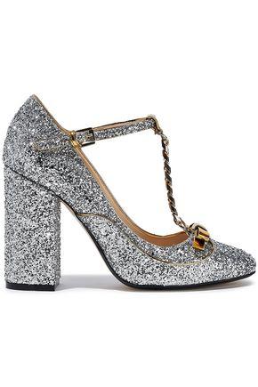 N°21 Embellished glittered leather Mary Jane pumps
