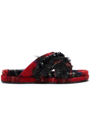 SIMONE ROCHA Embellished checked bouclé-tweed platform slides
