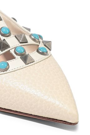 VALENTINO GARAVANI Rockstud Rolling pebbled-leather point-toe flats