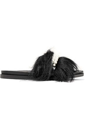 SIMONE ROCHA Faux pearl-embellished faux fur slides