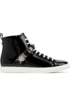 VERSACE Logo-embellished patent-leather high-top sneakers
