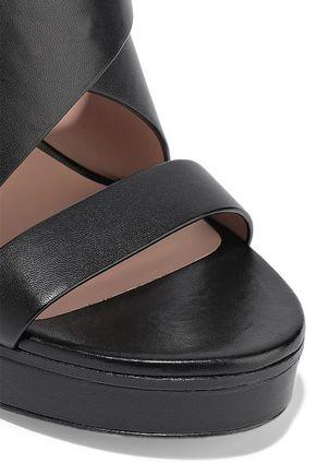 STUART WEITZMAN Leather platform slingback sandals