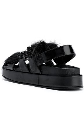 SIMONE ROCHA Embellished faux fur and glossed-leather platform slingback sandals