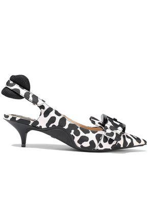 N°21 Buckle-embellished leopard-print poplin slingback pumps