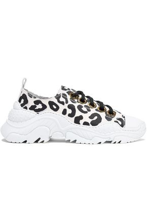 N°21 Billy leather-trimmed printed canvas sneakers