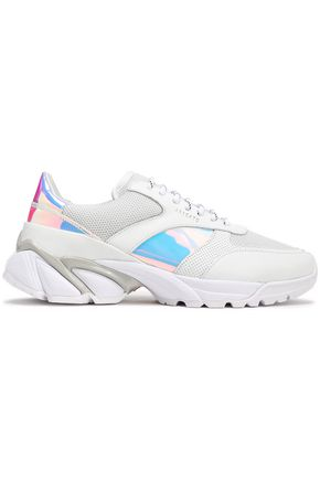 AXEL ARIGATO Iridescent-paneled leather and mesh sneakers