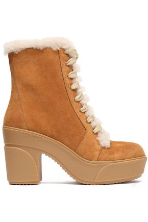 SEE BY CHLOÉ Emily shearling-trimmed suede platform ankle boots