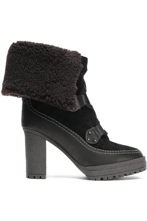 SEE BY CHLOÉ Verena shearling-lined suede and leather platform ankle boots