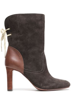 SEE BY CHLOÉ Lara lace-up leather-paneled suede ankle boots