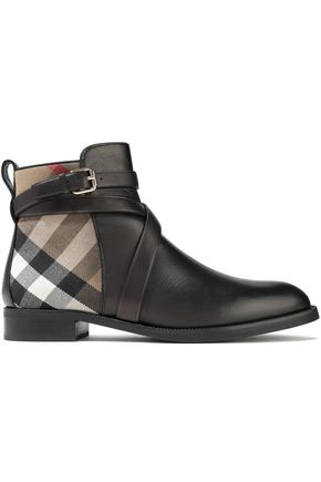 BURBERRY Checked twill-paneled leather ankle boots