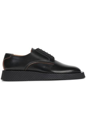 JIL SANDER Glossed-leather platform brogues