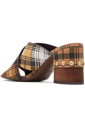 SEE BY CHLOÉ Studded checked suede and calf hair sandals