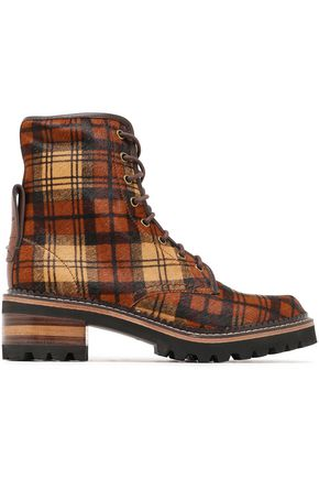 SEE BY CHLOÉ Marta leather-trimmed checked calf hair ankle boots