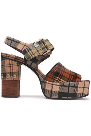 SEE BY CHLOÉ Studded checked suede and calf hair platform sandals