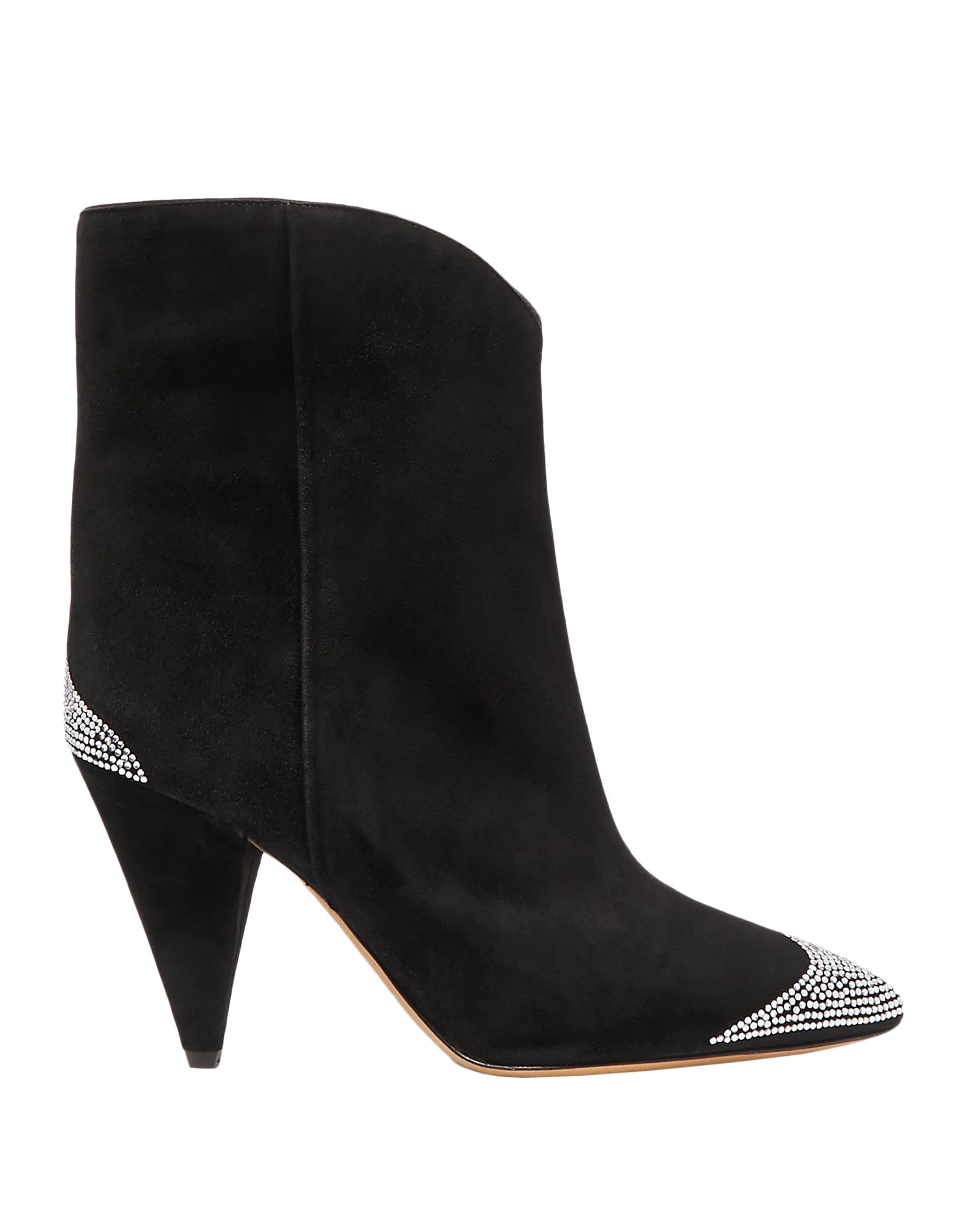 ISABEL MARANT Booties. metal applications, solid color, narrow toeline, cone heel, leather sole, leather lining, contains non-textile parts of animal origin, small sized. Soft Leather