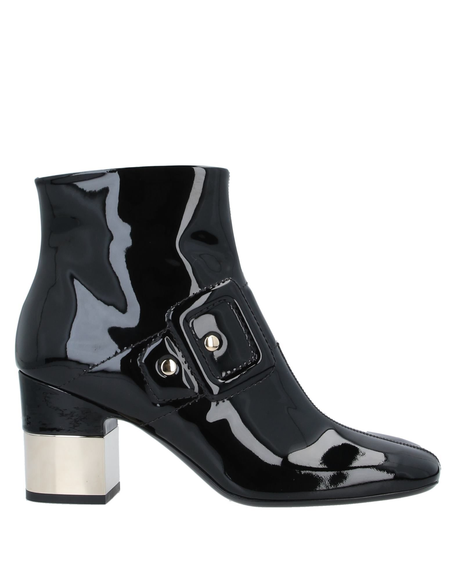 ROGER VIVIER Ankle boots. leather, metal applications, solid color, zip, square toeline, geometric heel, leather lining, varnished effect, leather sole, contains non-textile parts of animal origin. Soft Leather