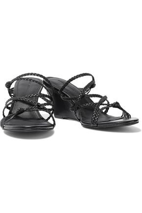Sigerson Morrison MADDIE KNOTTED BRAIDED LEATHER WEDGE SANDALS