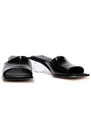 Helmut Lang Woman Lucite Ball Glossed-Leather Mules Black