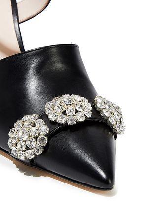 CHRISTOPHER KANE Crystal-embellished leather pumps