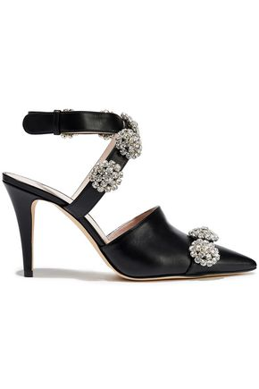 CHRISTOPHER KANE Crystal-embellished leather pumps