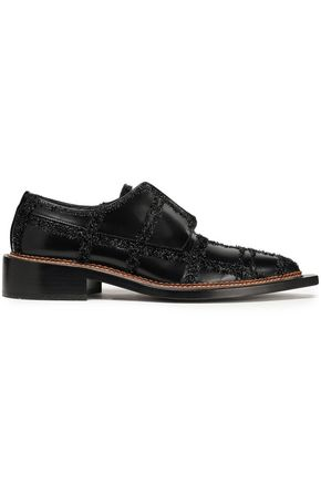 SIMONE ROCHA Tinsel-trimmed leather brogues