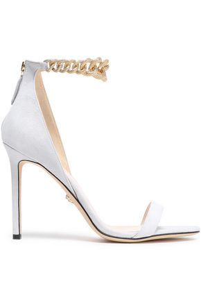 VERSACE Chain-embellished suede sandals