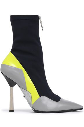 VERSACE Neon-trimmed leather and stretch-knit sock boots