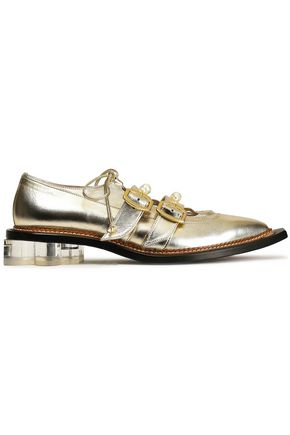 SIMONE ROCHA PVC-trimmed faux pearl-embellished metallic leather brogues